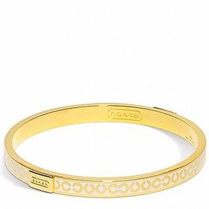 COACH~signature slim bangle bracelet~WHITE ENAMEL/GOLD PLATE